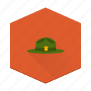 boards, camping, hat, individular, national park, parks, ranger icon
