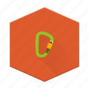 boards, carabiner, climbing, hiking, individular, safety, tool icon