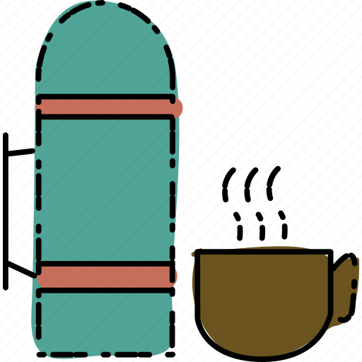 camping, coffe, outdoor, thermos, travel icon