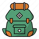 backpack, backpacker, bag, camping, travel, vacation icon