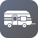 camp, car, home, travel, trolley, truck, van icon
