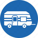 camp, car, hand, home, trolley, truck, van icon