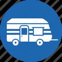 camp, car, hand, home, trolley, truck, van