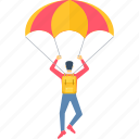 adventure, parachute, parachute gliding, paragliding, ride, riding, skydiving icon