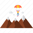adventure, mountain, parachute gliding, paragliding, mountains icon