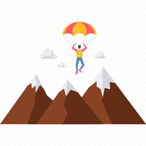 adventure, camping, hill, mountain, mountains, parachute gliding, paragliding icon