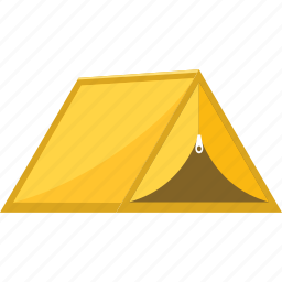 camp, camping, holiday, house, summer, tent, yellow icon