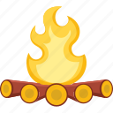 bonfire, campfire, camping, fire, flame, hot icon