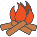 adventure, camping, fire, flame icon