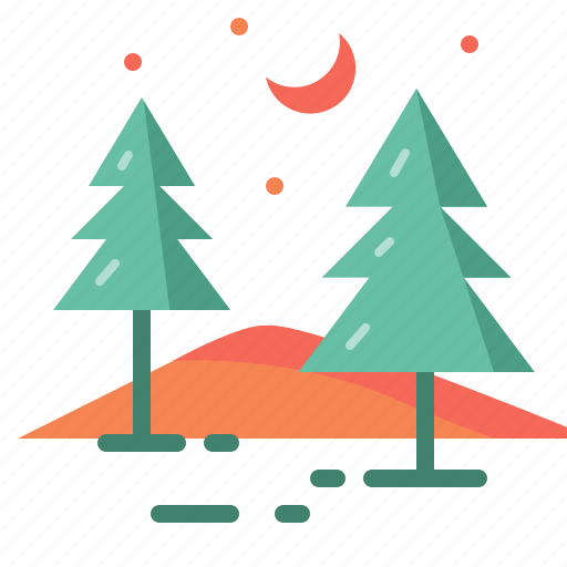 environment, forest, moon, nature, night, star, tree icon