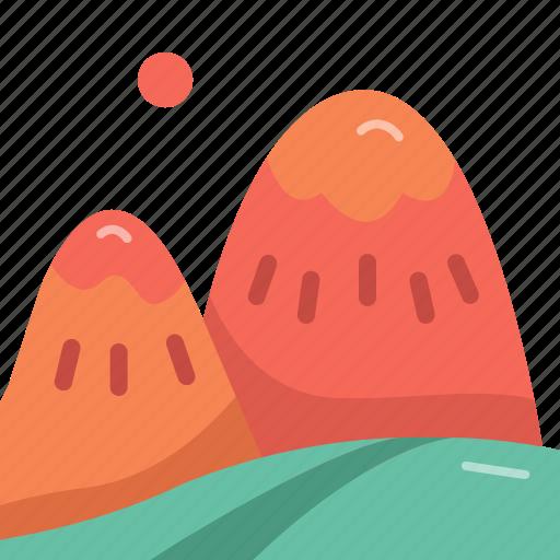 forecast, mountain, peak, sun icon