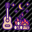 campfire, bonfire, camp, flame, music, musical, night