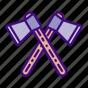 camping, axe, equipment, explore, tools