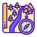 compass, camping, mountains, scenery, park, wilderness icon