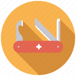 camping, equipment, knife, outdoors, swiss knife, tools, versatility icon