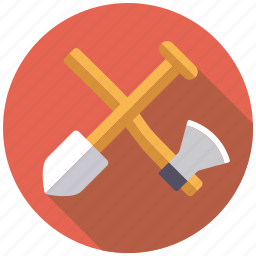 axe, camping, equipment, outdoors, shovel, spade, tools icon
