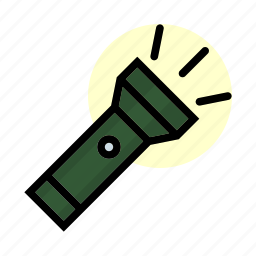 camping, dark, flashlight, light, outdoor icon