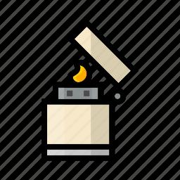campfire, camping, fire, outdoor, zippo icon
