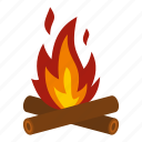 camp, campfire, fire, firewood, heat, light, travel icon