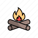 adventure, camping, camping equipment, fire, flame, tools, wood icon