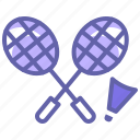 badminton, exercise, fitness, game, racquet, shuttle cock icon