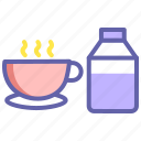 breakfast, cappuccino, coffee, coffee with milk, cup, milk icon