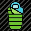 sleeping, bag, camping, bed
