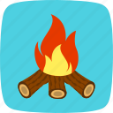 adventure, bonfire, camping icon