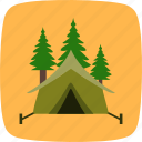 camp, camping, forest, trees icon