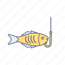 fish, fishing, hook, sea food icon