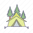 forest, tent, trees icon