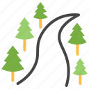 camping, forest, river, spruce, travel, trees icon