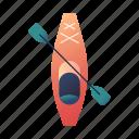 camping, canoe, canoeing, kayak, kayaking, outdoors, water sport icon