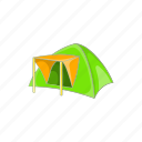 adventure, cartoon, dome, green, tent, tourist, travel icon