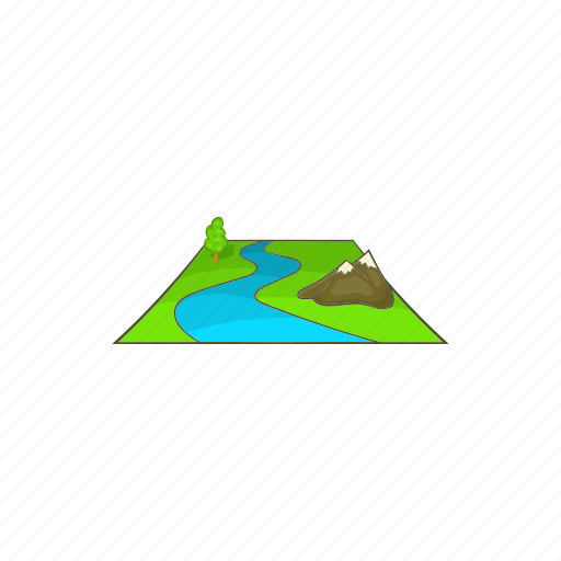 cartoon, forest, grass, green, landscape, mountain, tree icon