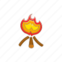 bonfire, campfire, cartoon, fire, firewood, flame, hot icon