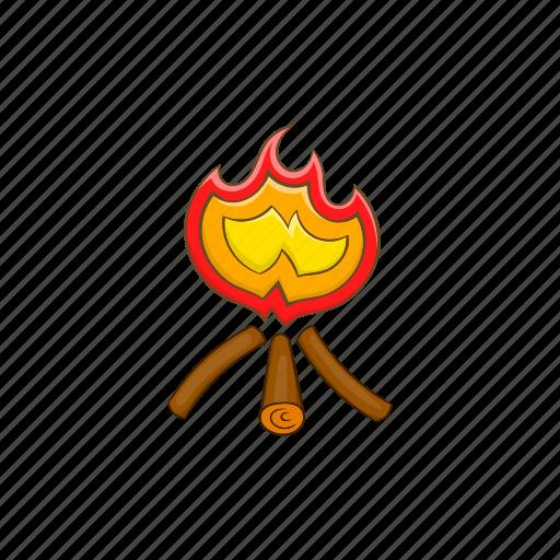 bonfire, campfire, cartoon, fire, firewood, flame, hot icon