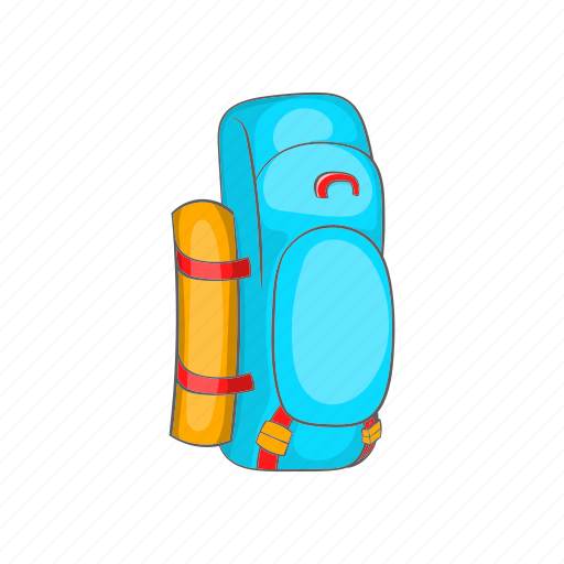 backpack, cartoon, equipment, luggage, mat, rolled, tourism icon