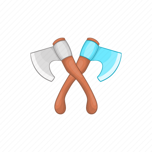 axe, cartoon, construction, crossed, metal, tool, two icon
