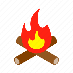 background, bonfire, burn, campfire, energy, fire, isometric icon