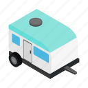 caravan, isometric, motorhome, outdoor, trailer, travel, truck icon