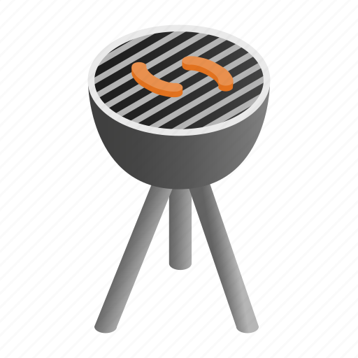 Grill, isometric, grilling, background, grilled, barbecue, bbq icon