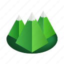 extreme, isoled, isometric, mountain, peak, rock, winter icon