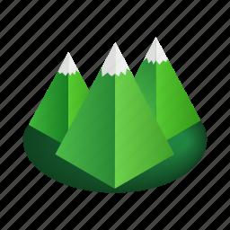 extreme, isoled, isometric, mountain, peak, rock, winter icon