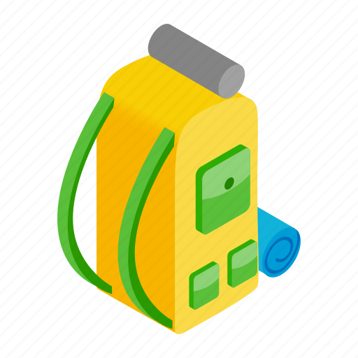 backpack, camp, hiking, isoled, isometric, outdoor, travel icon
