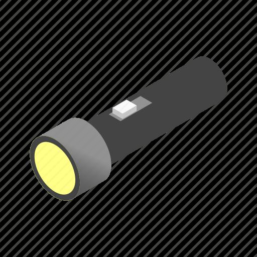 flashlight, illumination, isoled, isometric, led, light, torch icon
