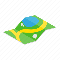 colored, gps, isoled, isometric, location, map, pin icon