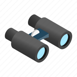 binoculars, discovery, isometric, military, telescope, view, vision icon