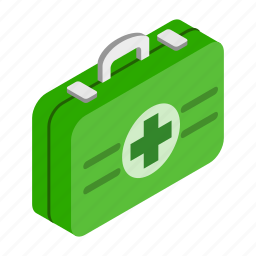 chest, first-aid, isoled, isometric, kit, medical, medicine icon