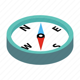 compass, isometric, logos, map, north, south, travel icon